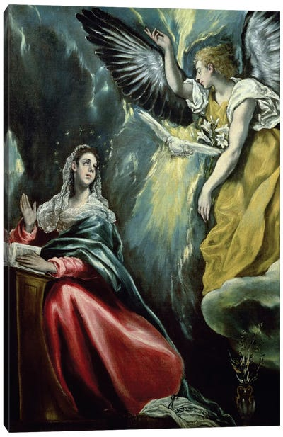 The Annunciation, c.1575 (Private Collection) Canvas Art Print