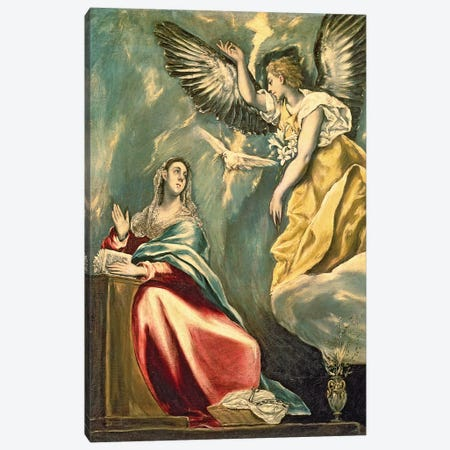 The Annunciation, c.1595-1600 (Museum Of Fine Arts - Budapest) Canvas Print #BMN6227} by El Greco Canvas Wall Art