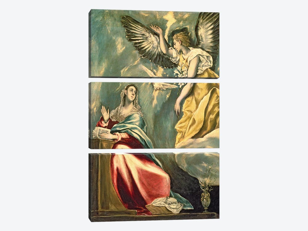 The Annunciation, c.1595-1600 (Museum Of Fine Arts - Budapest) by El Greco 3-piece Canvas Art Print