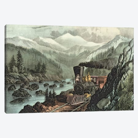 The Route to California. Truckee River, Sierra Nevada. Central Pacific railway, 1871  Canvas Print #BMN622} by N. Currier Canvas Art