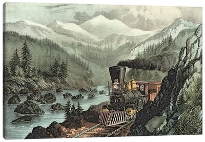 The Route to California. Truckee River, Sierra Nevada. Central Pacific railway, 1871  Canvas Art Print
