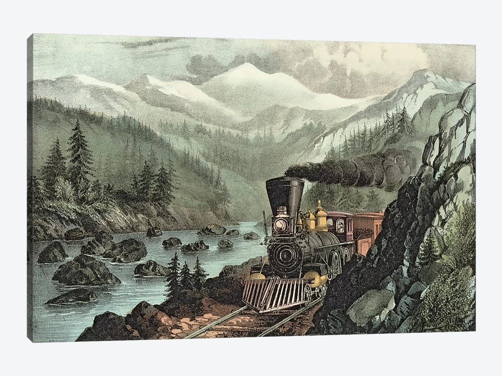 The Route to California. Truckee River, Sierra Nevada. Central Pacific railway, 1871  by N. Currier 1-piece Canvas Print