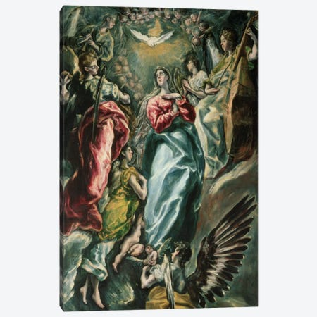 The Assumption Of The Virgin, 1607-13 (Museo de Santa Cruz) Canvas Print #BMN6230} by El Greco Canvas Wall Art