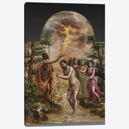 The Baptism Of Christ (Front Side Of Right Panel From El Greco's Portable Altar) Canvas Print #BMN6231} by El Greco Canvas Wall Art