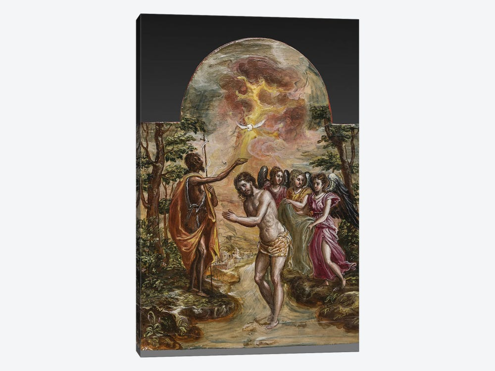 The Baptism Of Christ (Front Side Of Right Panel From El Greco's Portable Altar) by El Greco 1-piece Canvas Artwork