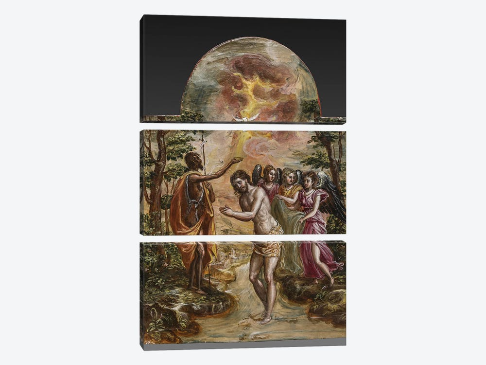 The Baptism Of Christ (Front Side Of Right Panel From El Greco's Portable Altar) by El Greco 3-piece Canvas Art