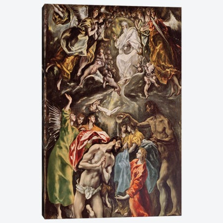 The Baptism Of Christ, c.1608-14 (Hospital de Tavera) Canvas Print #BMN6233} by El Greco Canvas Wall Art