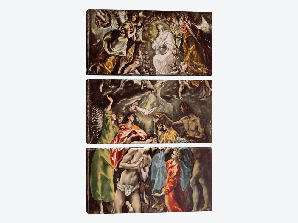 The Baptism Of Christ, c.1608-14 (Hospital de Tavera) by El Greco 3-piece Canvas Wall Art