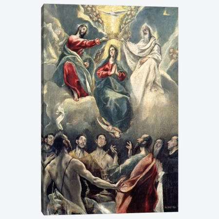 The Coronation Of The Virgin (Museo de Santa Cruz) Canvas Print #BMN6236} by El Greco Canvas Print