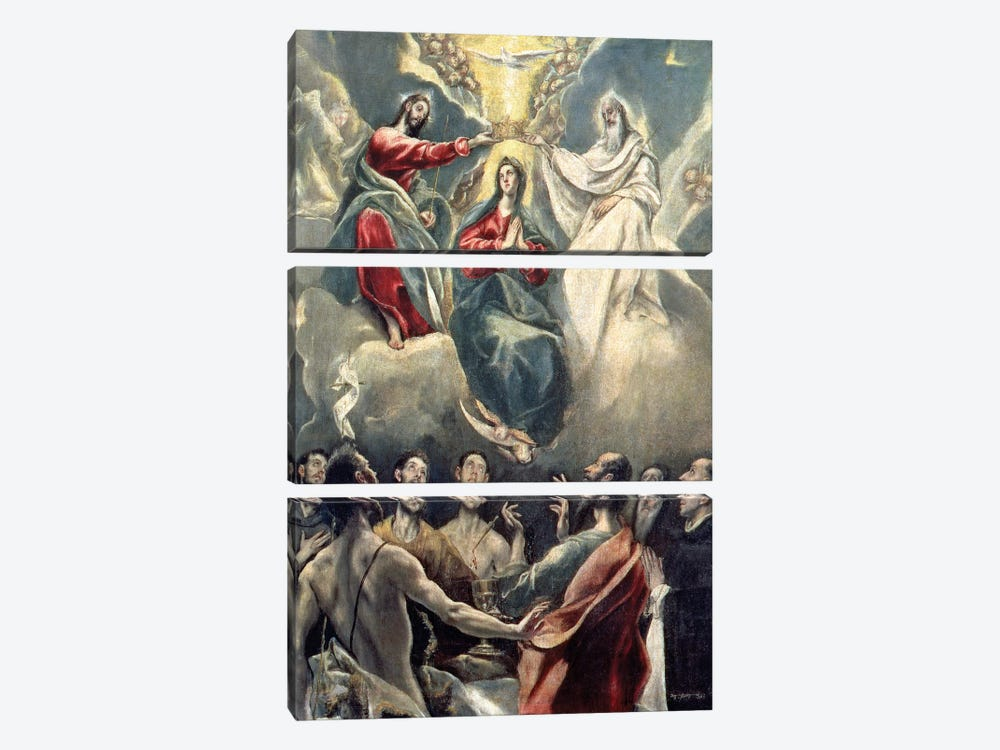The Coronation Of The Virgin (Museo de Santa Cruz) by El Greco 3-piece Art Print