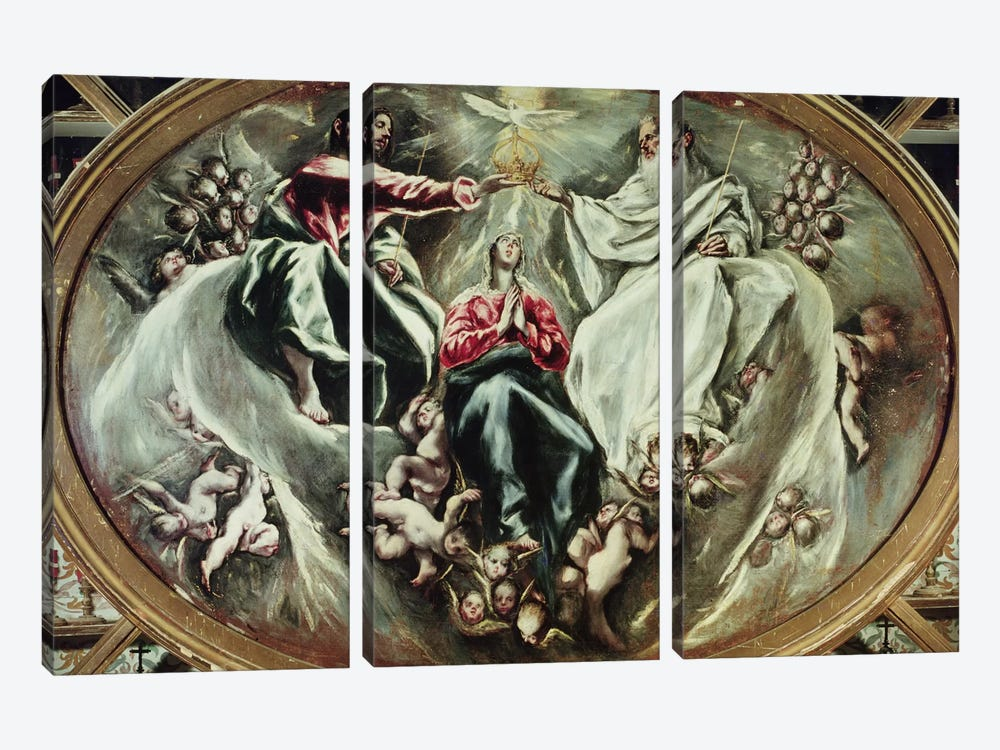 The Coronation Of The Virgin, 1597-1603 (Hospital de la Caridad) by El Greco 3-piece Canvas Artwork