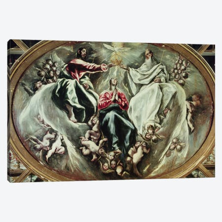 The Coronation Of The Virgin, 1597-1603 (Hospital de la Caridad) Canvas Print #BMN6237} by El Greco Art Print