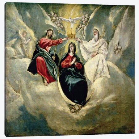 The Coronation Of The Virgin, c.1591-92 (Museo del Prado) Canvas Print #BMN6238} by El Greco Canvas Wall Art