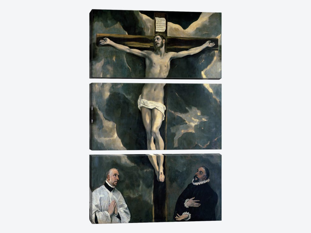 The Crucifixion With Two Donors, c.1580 (The Louvre) by El Greco 3-piece Canvas Art