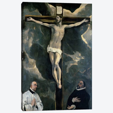 The Crucifixion With Two Donors, c.1580 (The Louvre) Canvas Print #BMN6239} by El Greco Canvas Artwork