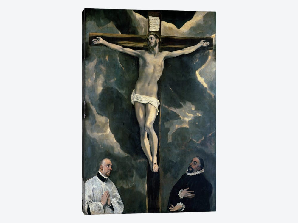The Crucifixion With Two Donors, c.1580 (The Louvre) by El Greco 1-piece Canvas Wall Art