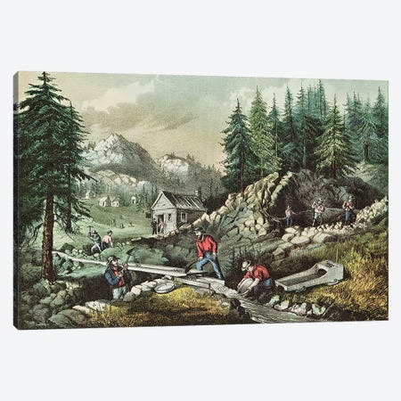 Goldmining in California, 1871  Canvas Print #BMN623} by N. Currier Canvas Artwork