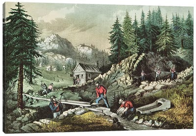 Goldmining in California, 1871  Canvas Art Print