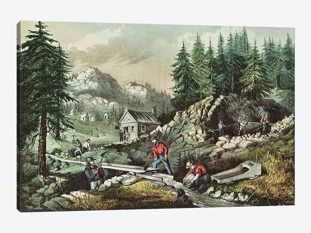 Goldmining in California, 1871  by N. Currier 1-piece Canvas Wall Art