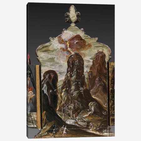 The Handing Over Of The Tablets Of Law At Mount Sinai, (Back Side Of Central Panel From El Greco's Portable Altar) Canvas Print #BMN6246} by El Greco Canvas Artwork