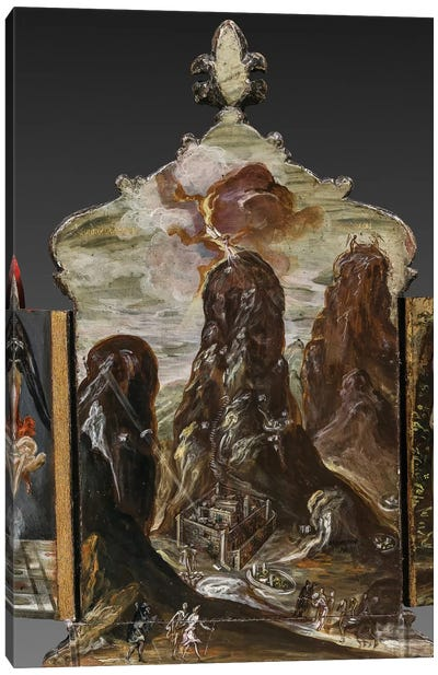 The Handing Over Of The Tablets Of Law At Mount Sinai, (Back Side Of Central Panel From El Greco's Portable Altar) Canvas Print #BMN6246