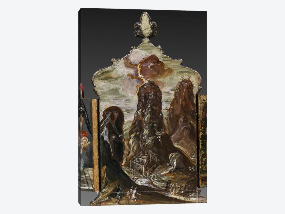The Handing Over Of The Tablets Of Law At Mount Sinai, (Back Side Of Central Panel From El Greco's Portable Altar) by El Greco 1-piece Canvas Art