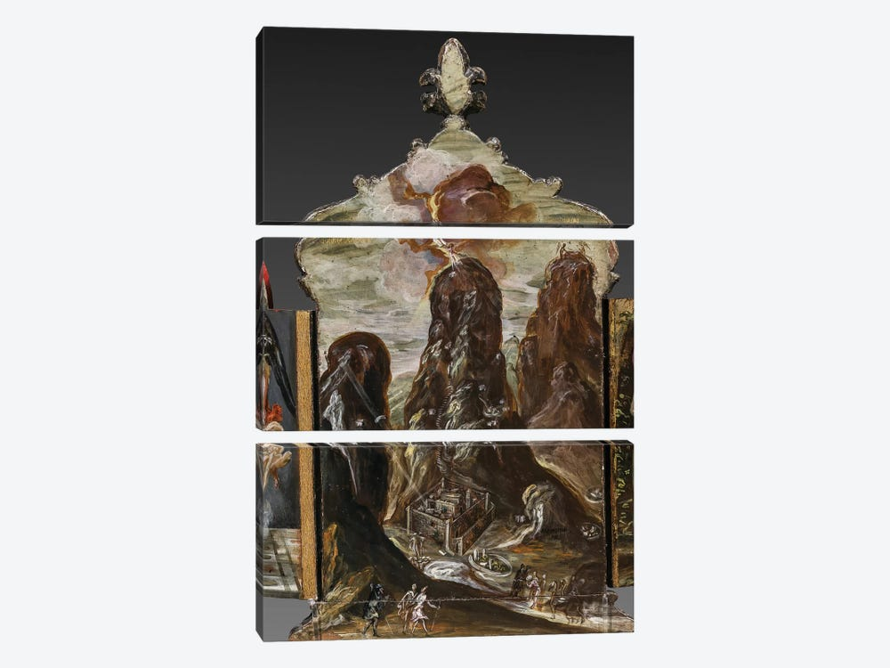 The Handing Over Of The Tablets Of Law At Mount Sinai, (Back Side Of Central Panel From El Greco's Portable Altar) by El Greco 3-piece Canvas Art