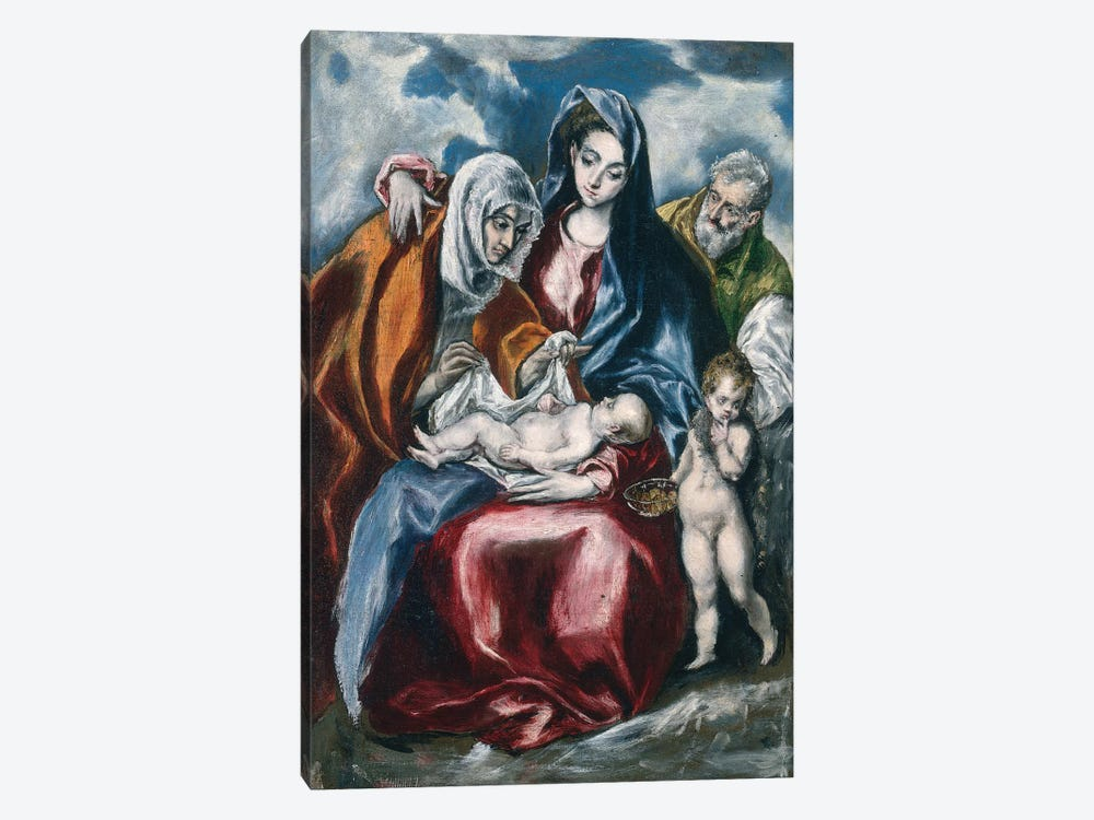 The Holy Family With Saint Anne And The Infant John The Baptist, c.1595-1600 (National Gallery Of Art - Washington, D.C.) 1-piece Canvas Wall Art