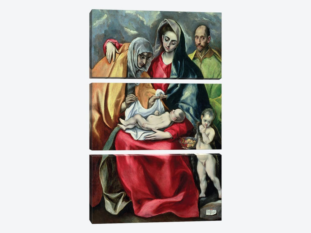 The Holy Family With St. Elizabeth (Museo de Santa Cruz) by El Greco 3-piece Art Print