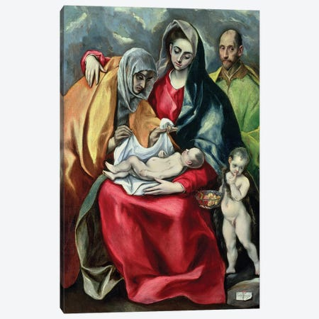 The Holy Family With St. Elizabeth (Museo de Santa Cruz) Canvas Print #BMN6249} by El Greco Canvas Art Print