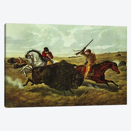 Life on the Prairie - the Buffalo Hunt, 1862  Canvas Print #BMN624} by N. Currier Canvas Art Print