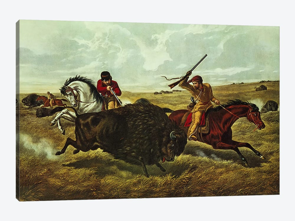 Life on the Prairie - the Buffalo Hunt, 1862  by N. Currier 1-piece Art Print