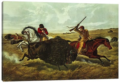Life on the Prairie - the Buffalo Hunt, 1862  Canvas Art Print