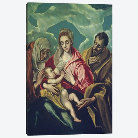 The Holy Family With St. Elizabeth (Museum Of Fine Arts - Budapest) Canvas Print #BMN6250} by El Greco Canvas Art