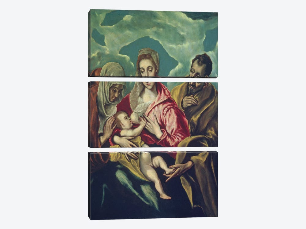 The Holy Family With St. Elizabeth (Museum Of Fine Arts - Budapest) by El Greco 3-piece Canvas Print