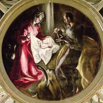 Stile Peplo Greco: The Nativity, 1597-1603 Canvas Art By El Greco