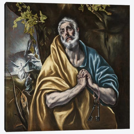 The Penitent Saint Peter, c.1590-95 (San Diego Museum Of Art) Canvas Print #BMN6256} by El Greco Canvas Print