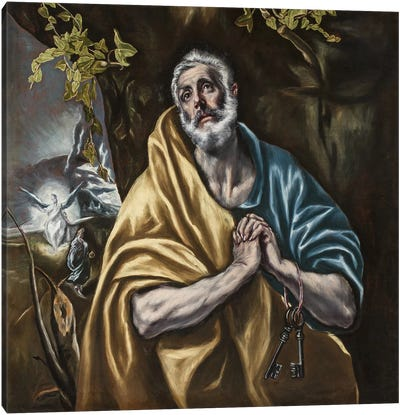 The Penitent Saint Peter, c.1590-95 (San Diego Museum Of Art) Canvas Art Print