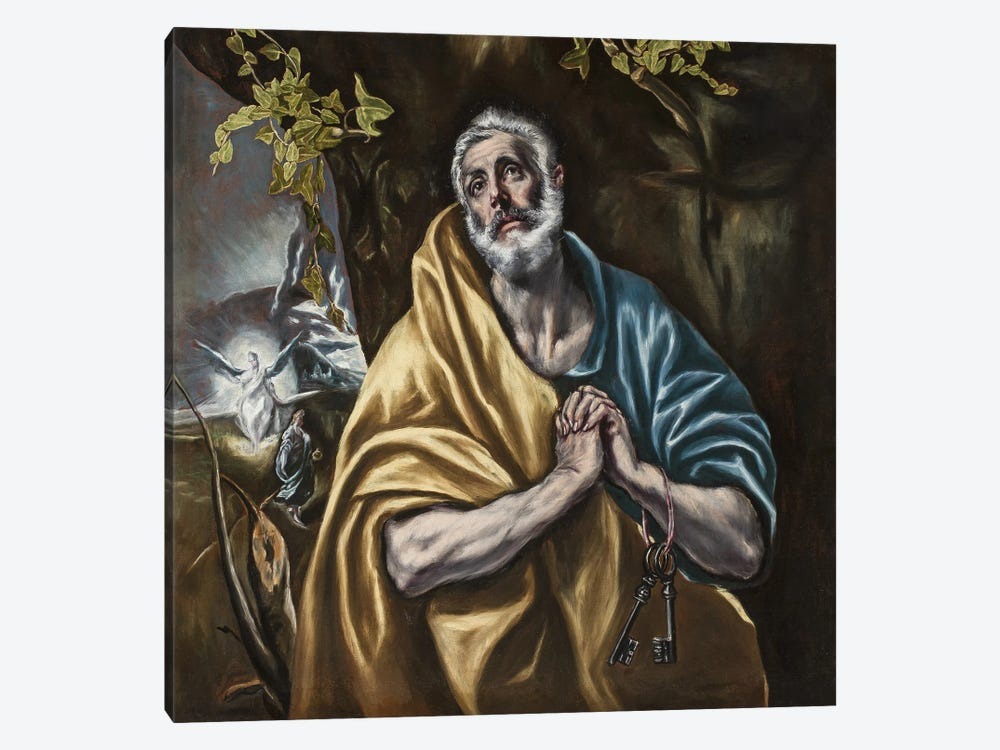 The Penitent Saint Peter, c.1590-95 (San Diego Museum Of Art) by El Greco 1-piece Canvas Print