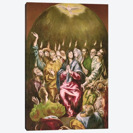 The Pentecost, c.1604-14 Canvas Print #BMN6257} by El Greco Art Print