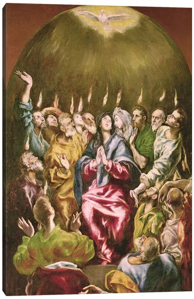 The Pentecost, c.1604-14 Canvas Art Print