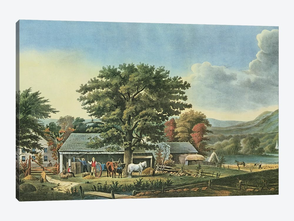 Autumn in New England - Cider Making, 1866  by N. Currier 1-piece Canvas Art