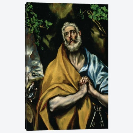 The Tears Of St. Peter, c.1605 (Hospital de Tavera) Canvas Print #BMN6260} by El Greco Canvas Art Print