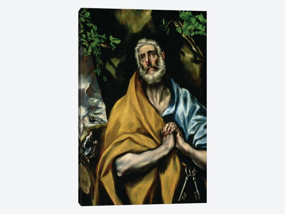 The Tears Of St. Peter, c.1605 (Hospital de Tavera) by El Greco 1-piece Canvas Artwork
