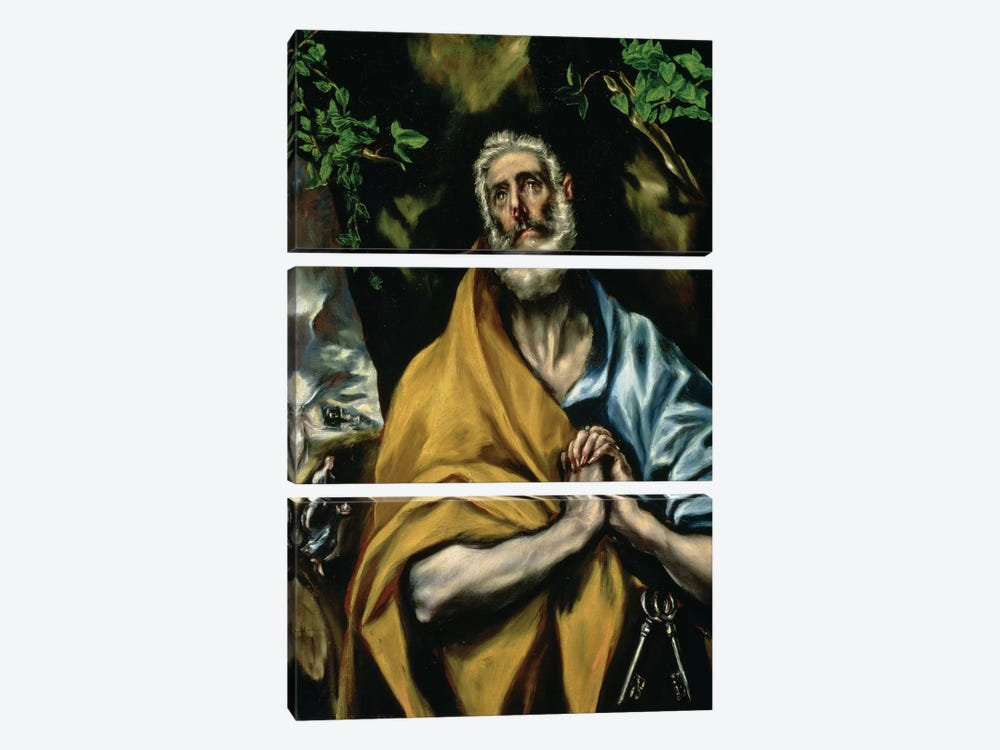 The Tears Of St. Peter, c.1605 (Hospital de Tavera) by El Greco 3-piece Canvas Art