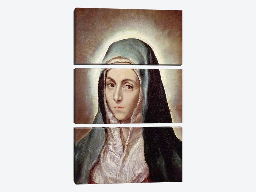 The Virgin Mary, c.1595-1600 (Musee des Beaux-Arts de Strasbourg) by El Greco 3-piece Canvas Print