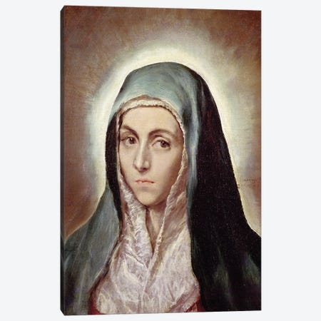 The Virgin Mary, c.1595-1600 (Musee des Beaux-Arts de Strasbourg) Canvas Print #BMN6263} by El Greco Canvas Print