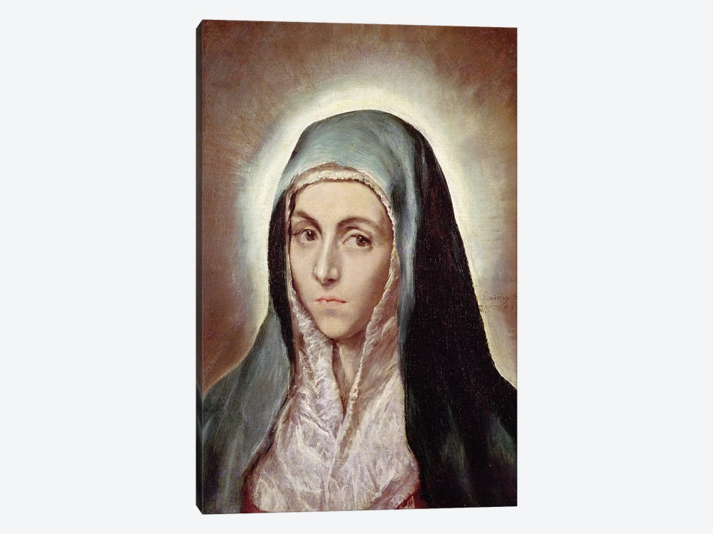 The Virgin Mary, c.1595-1600 (Musee des Beaux-Arts de Strasbourg) by El Greco 1-piece Canvas Print