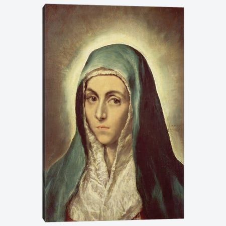 The Virgin Mourning (Musee des Beaux-Arts de Strasbourg) Canvas Print #BMN6264} by El Greco Canvas Wall Art