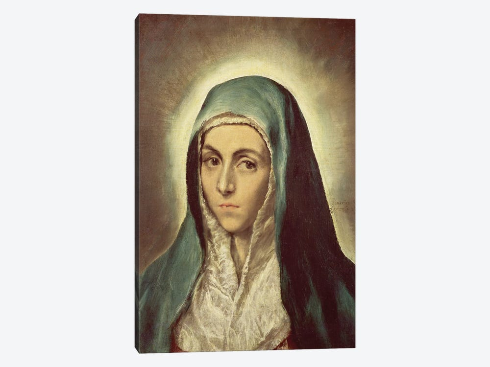 The Virgin Mourning (Musee des Beaux-Arts de Strasbourg) by El Greco 1-piece Canvas Wall Art